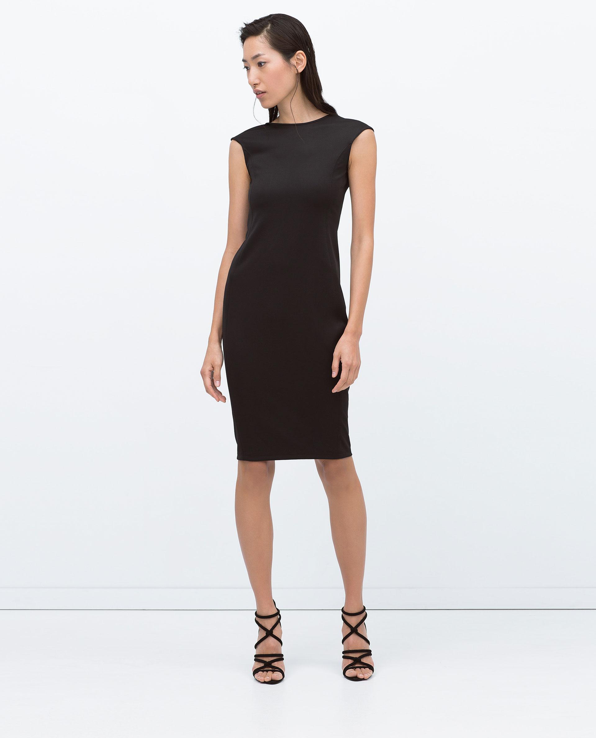 Zara Mid-Length Tailored Dress in Black | Lyst