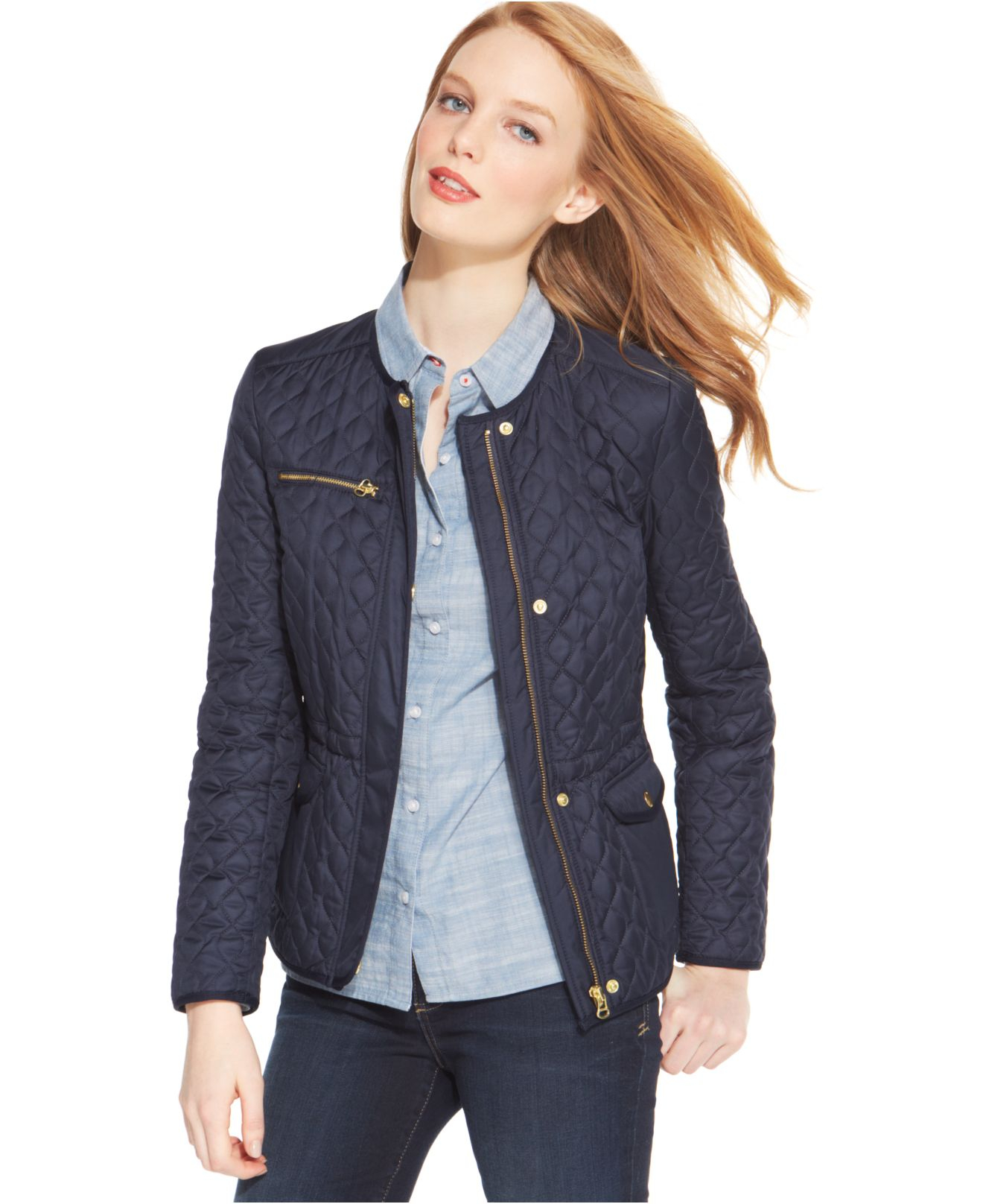 tommy hilfiger quilted collarless barn jacket in blue lyst. Black Bedroom Furniture Sets. Home Design Ideas