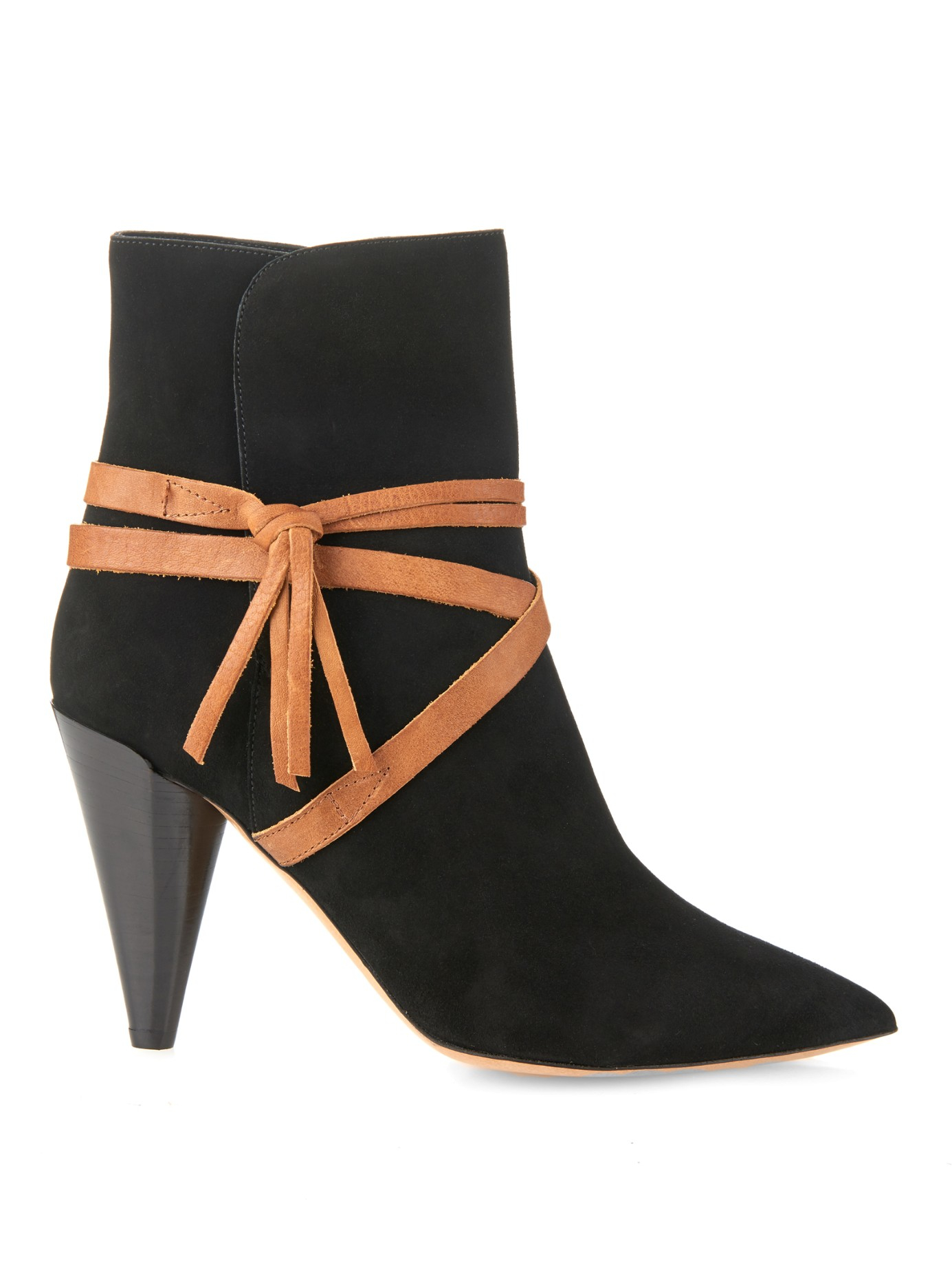 isabel marant nerys suede and leather ankle boots in black black tan save 60 lyst. Black Bedroom Furniture Sets. Home Design Ideas