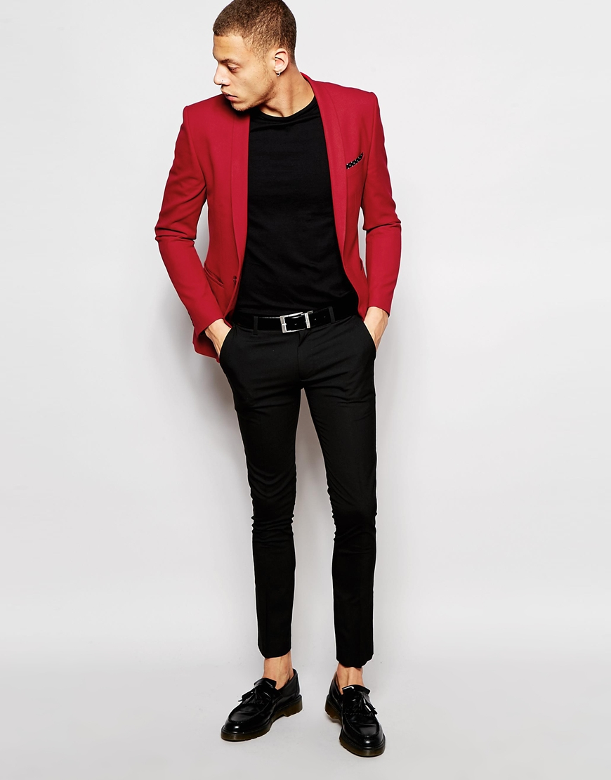 Asos Super Skinny Suit Jacket In Red in Red for Men | Lyst