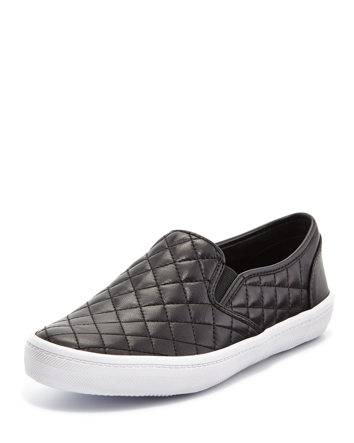 Rebecca Minkoff Sal Leather Quilted Skate Sneaker In Black