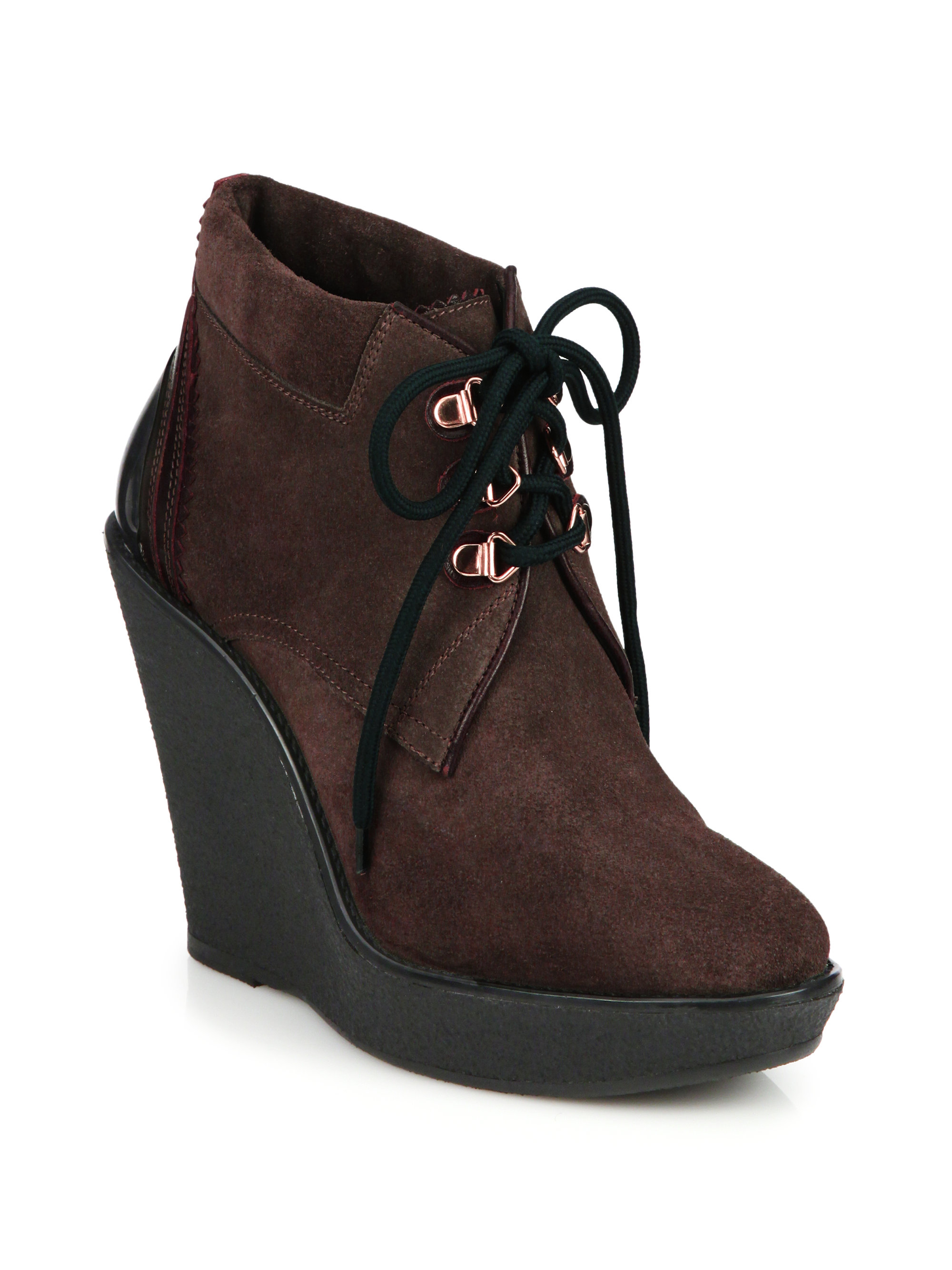 burberry watkins suede lace up wedge boots in brown lyst