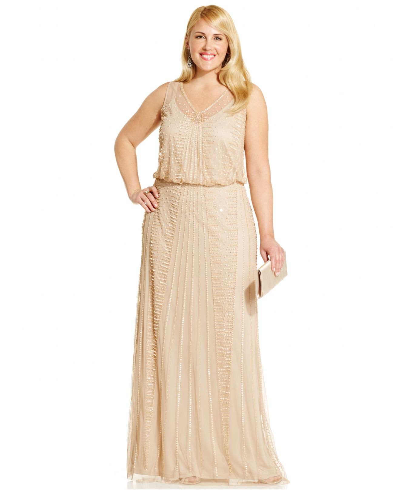 Lyst Adrianna Papell Plus Size Embellished Gown In Metallic