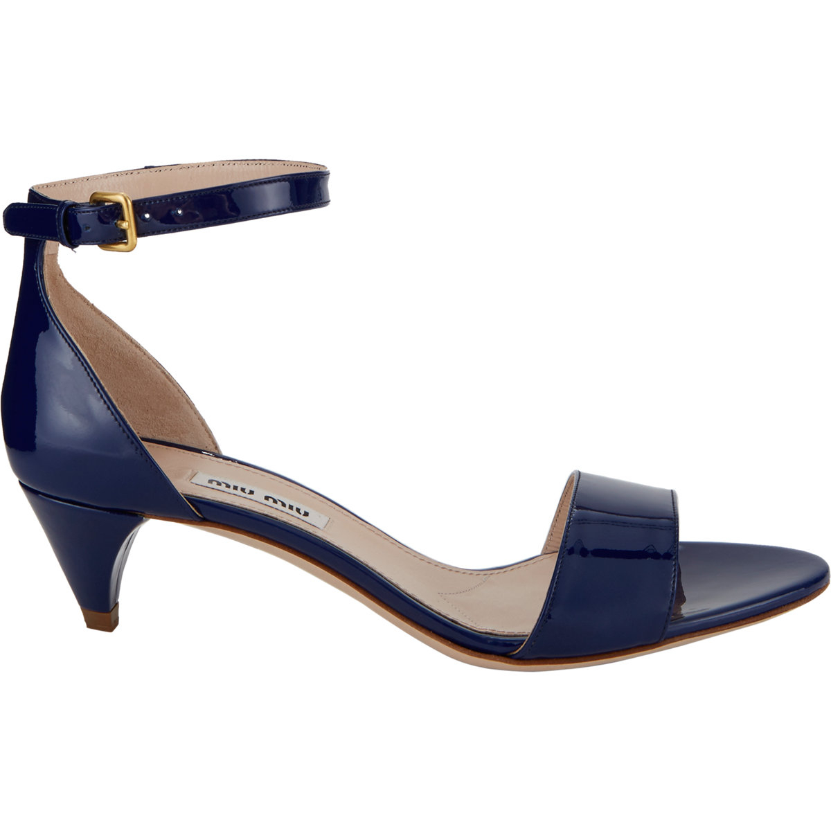 cec0383fb0 Miu Miu Patent Ankle-Strap Sandals in Blue - Lyst