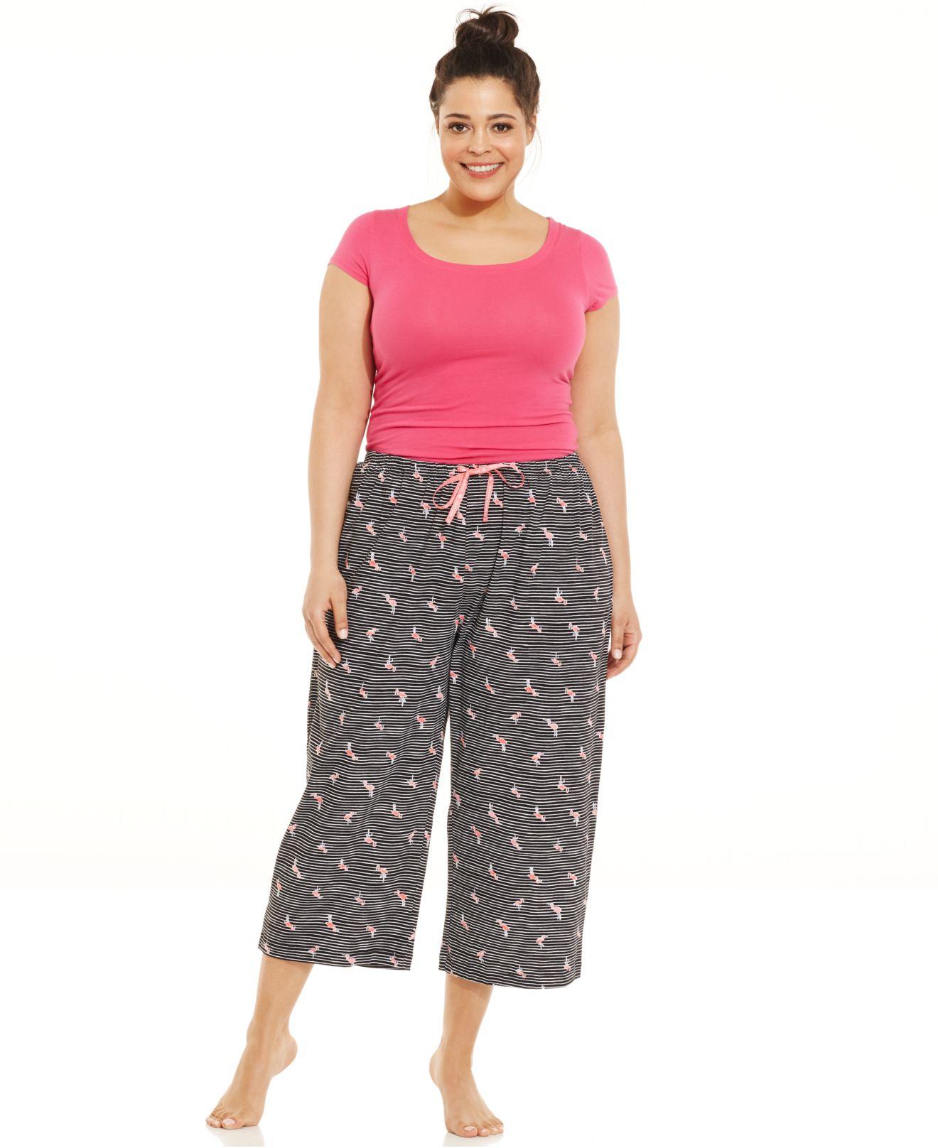Hue Plus Size Flamingo Stripe Knit Capri Pajama Pants in Black | Lyst
