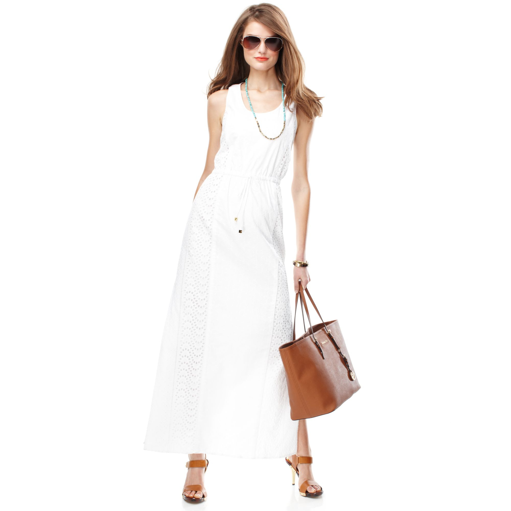 e7a1e60e434 Lyst - Michael Kors Michael Sleeveless Cotton Eyelet Maxi Dress in White
