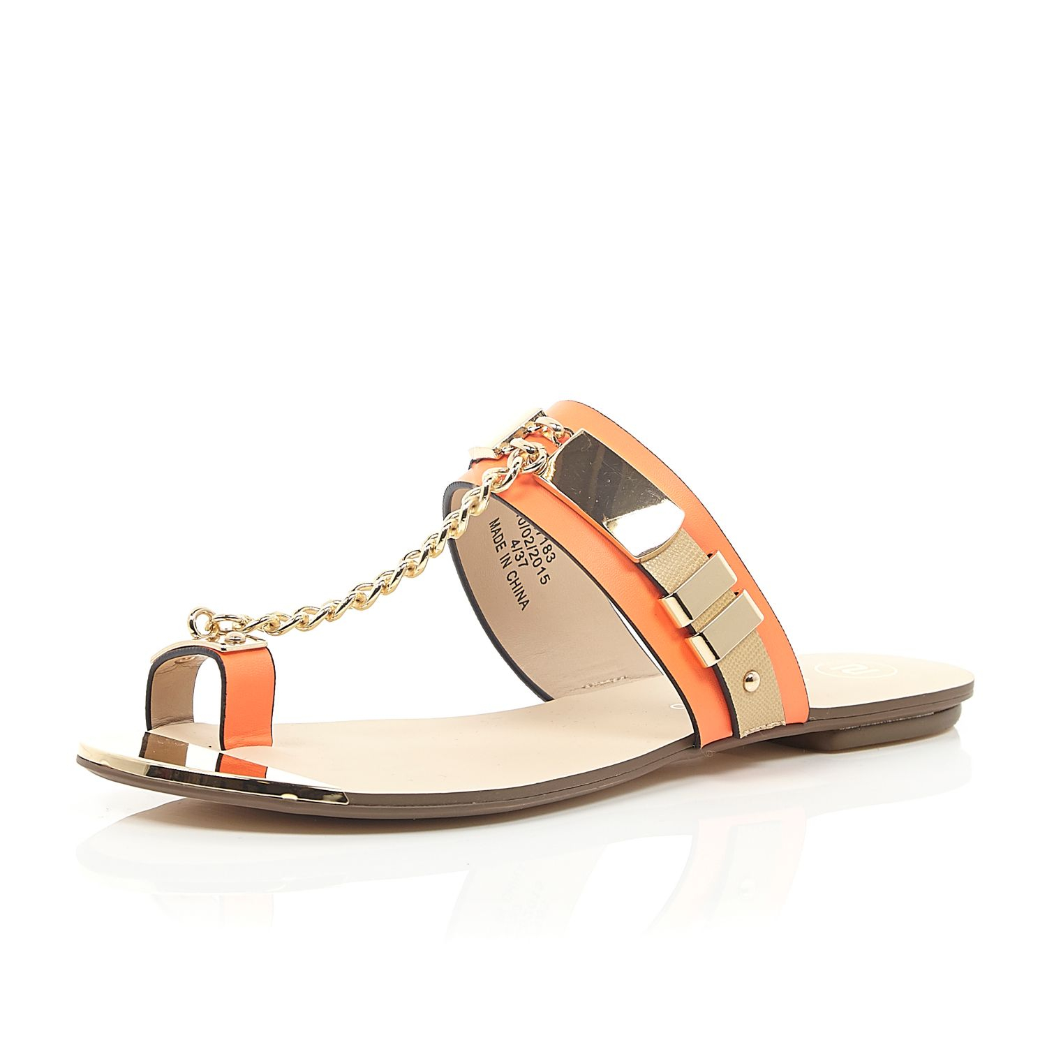 f01d636429f River Island Orange Snake Print Chain Sandals in Orange - Lyst
