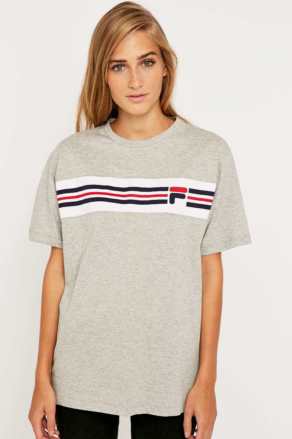 fila cameron stripe t shirt in gray lyst. Black Bedroom Furniture Sets. Home Design Ideas