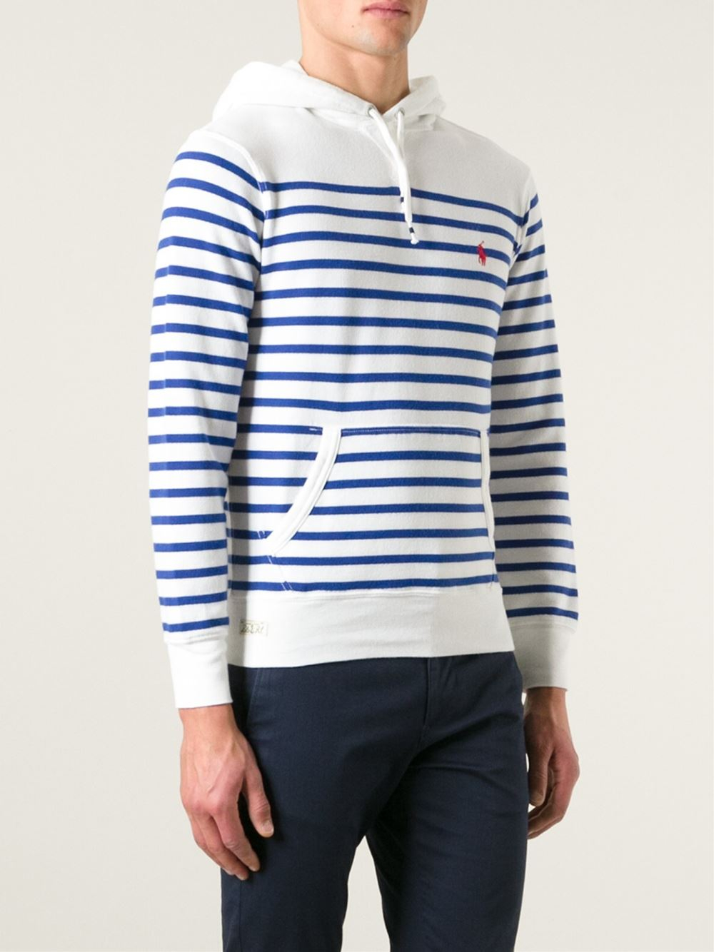 0e8f74636df8ef Lyst - Polo Ralph Lauren Striped Hoodie in White for Men