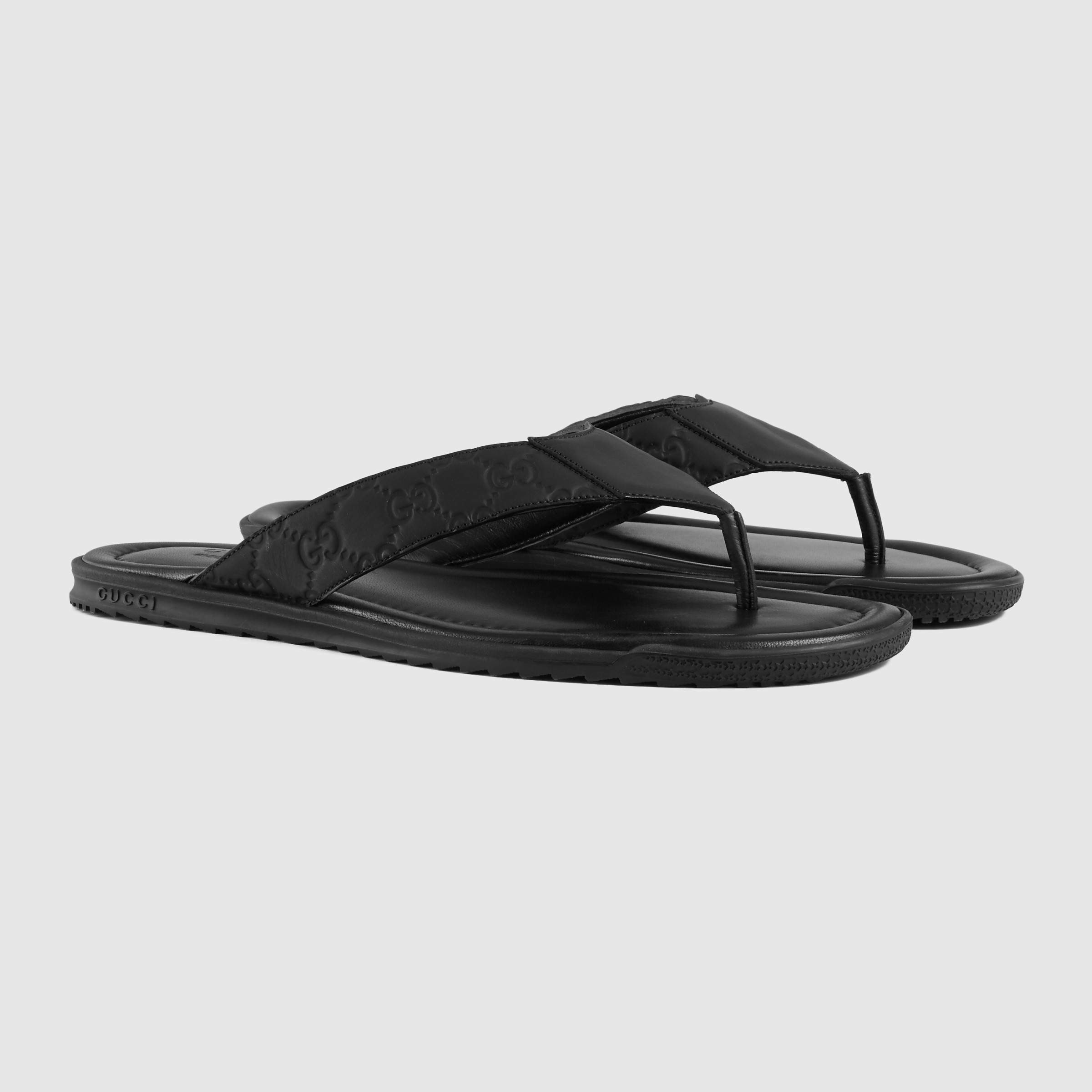 Lyst Gucci Rubberized Leather Thong Sandal In Black For Men