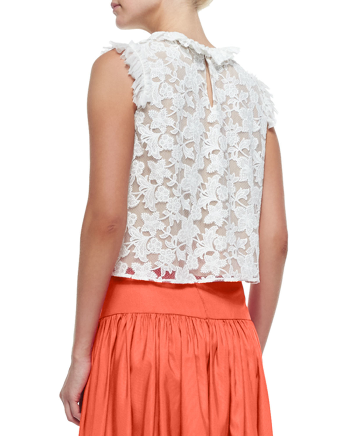 25c2ba55490 Alexis Fran Sleeveless Ruffle-trim Lace Crop Top in White - Lyst