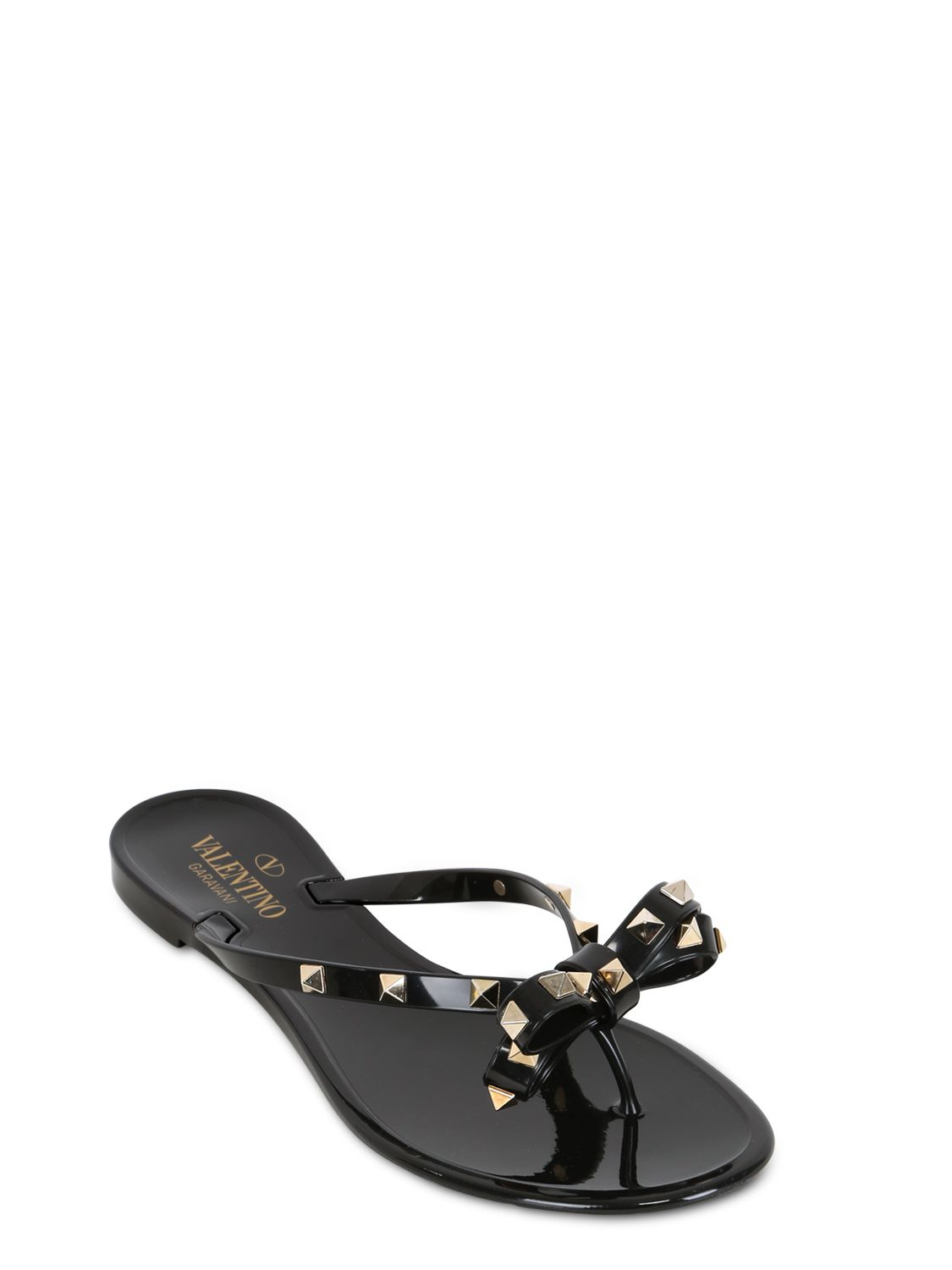 b51a546aab521c Lyst - Valentino Rubber Studded Flip Flops in Black