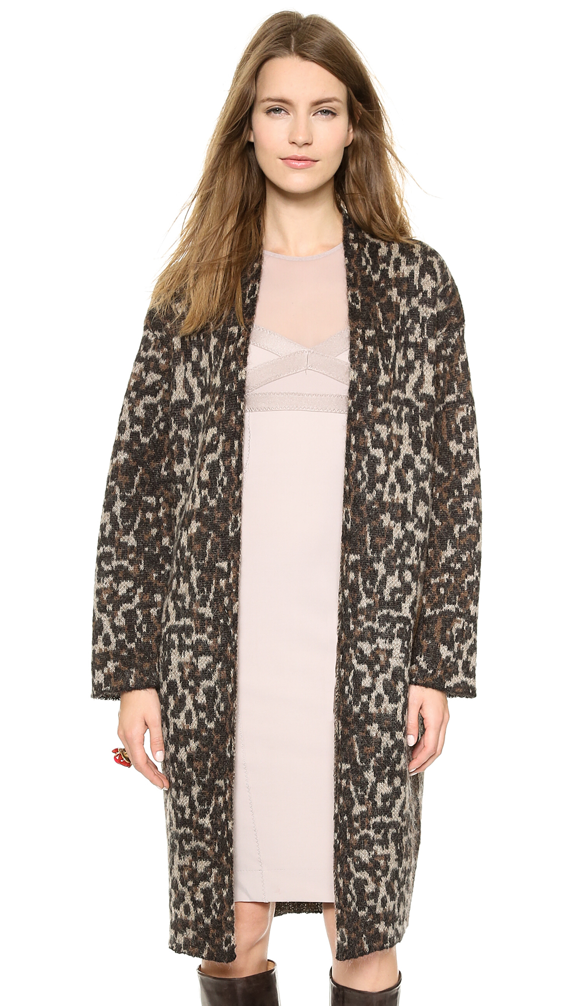 By malene birger Cameliu Leopard Print Cardigan in Brown | Lyst