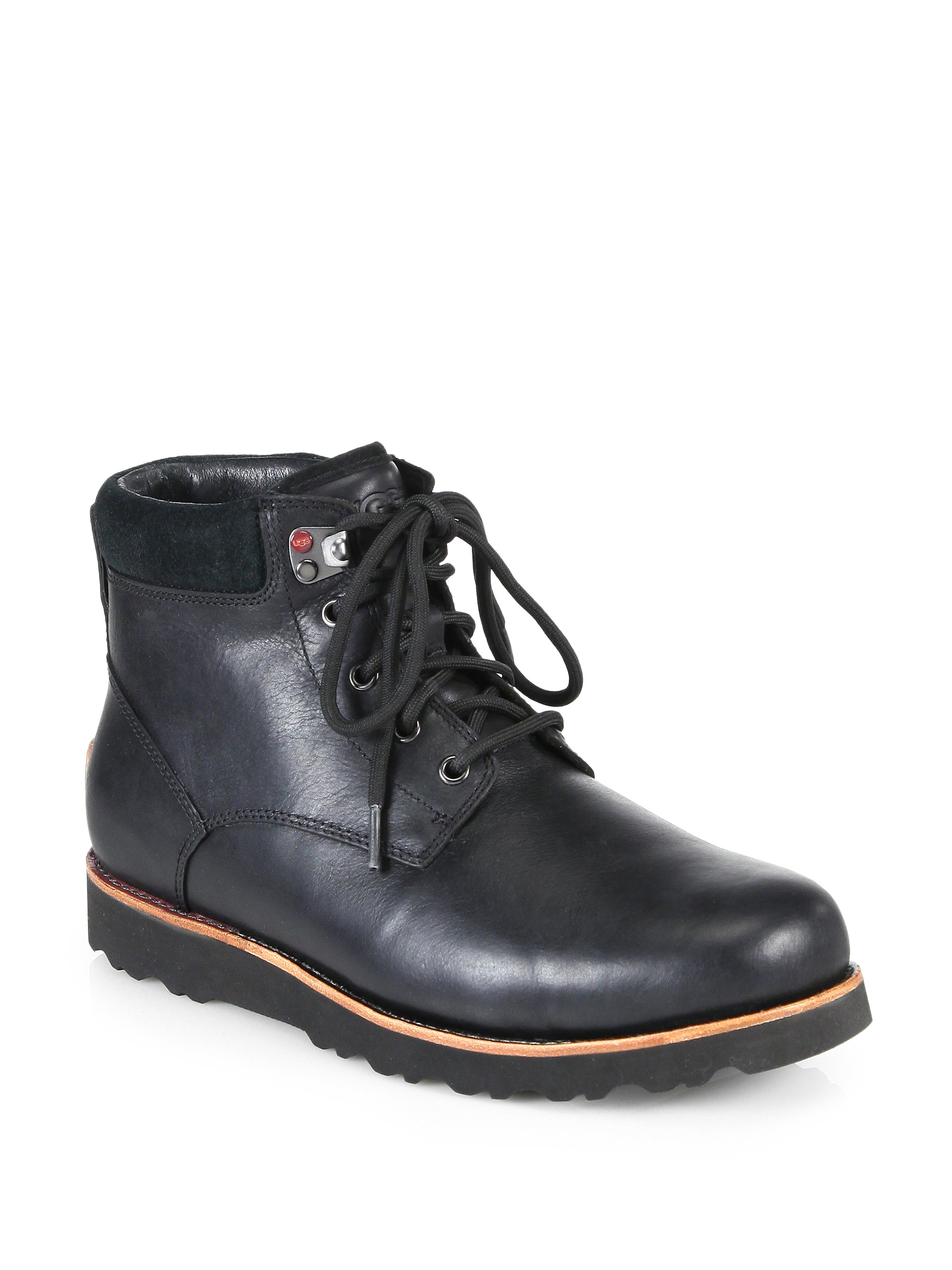 Ugg Seton Leather Lace Up Boots In Black For Men Lyst