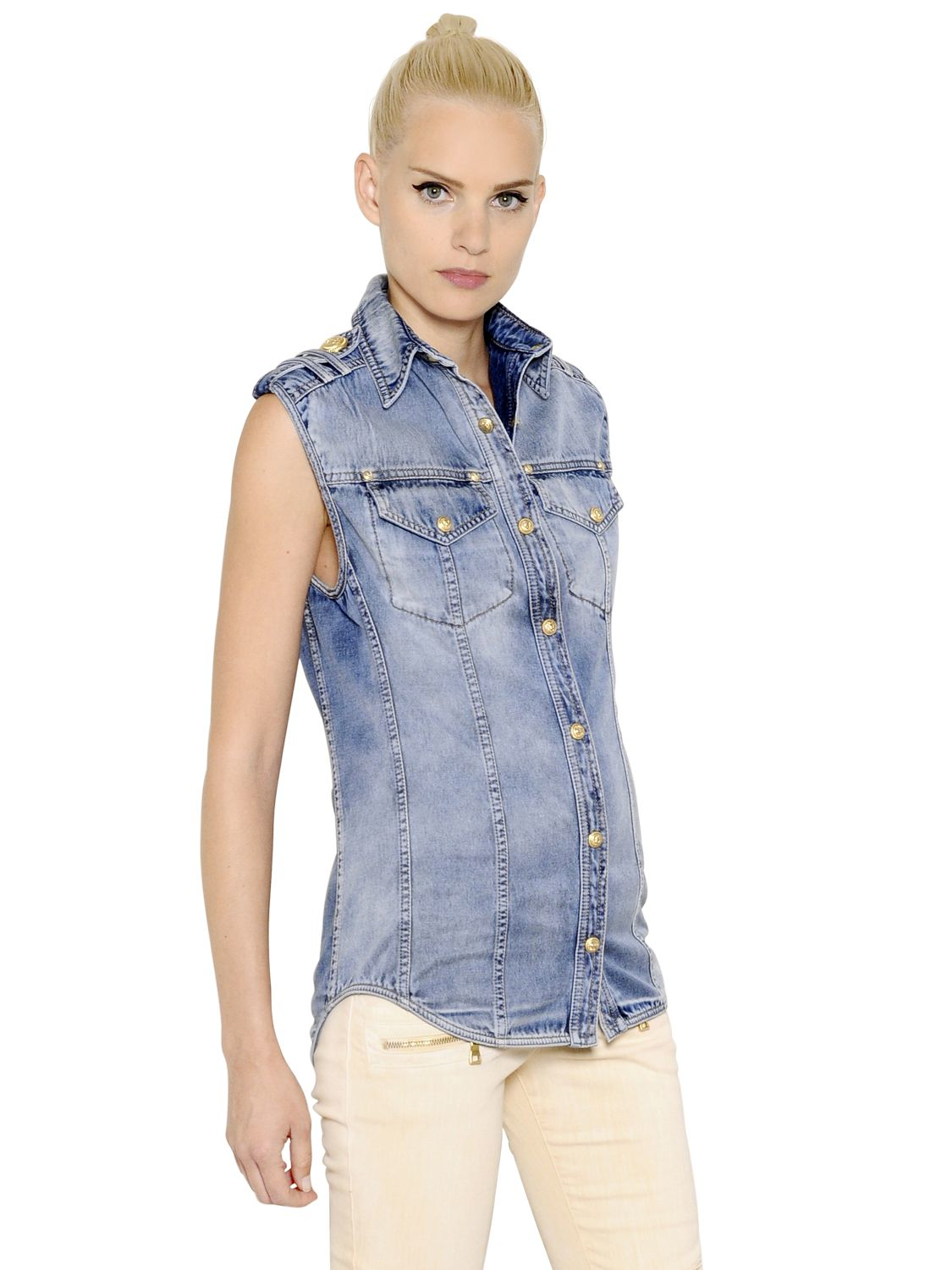 Balmain Sleeveless Washed Cotton Denim Shirt in Blue | Lyst