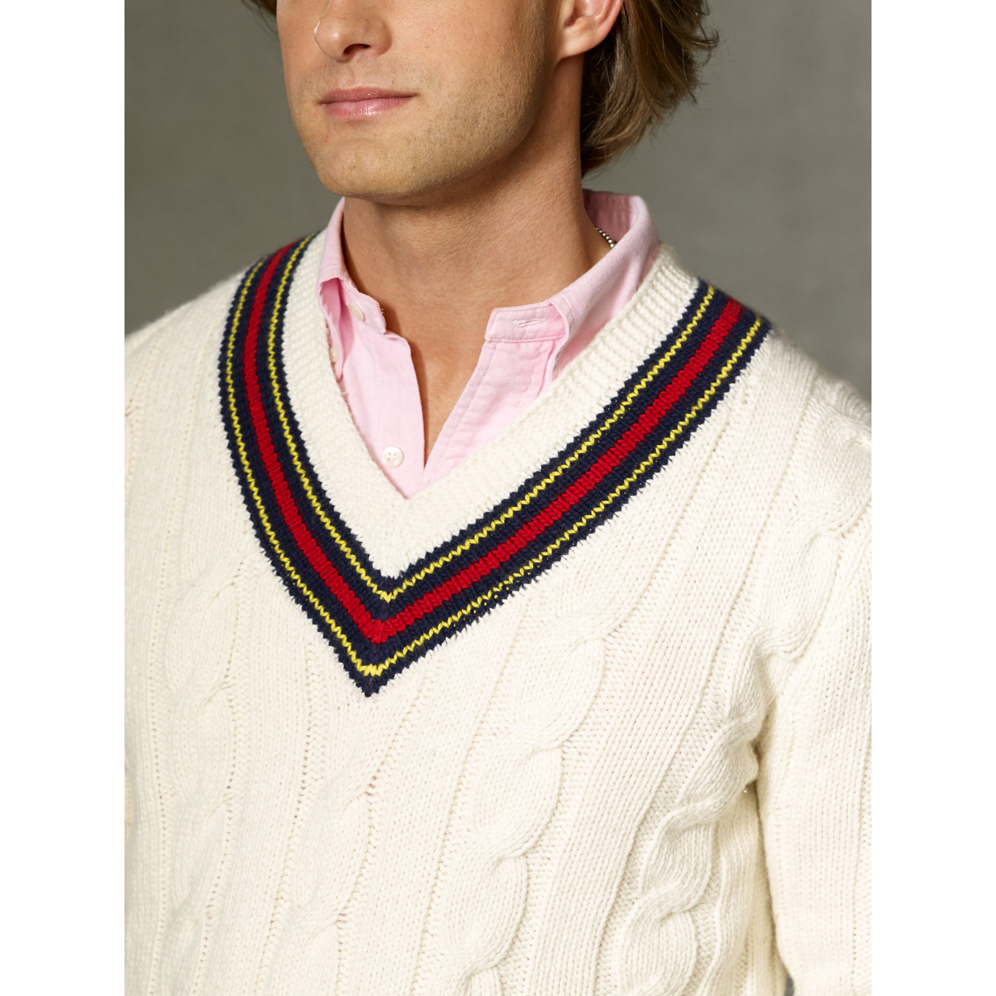 798bf87076b ... coupon code for lyst polo ralph lauren cotton blend cricket sweater in  natural for men 09571