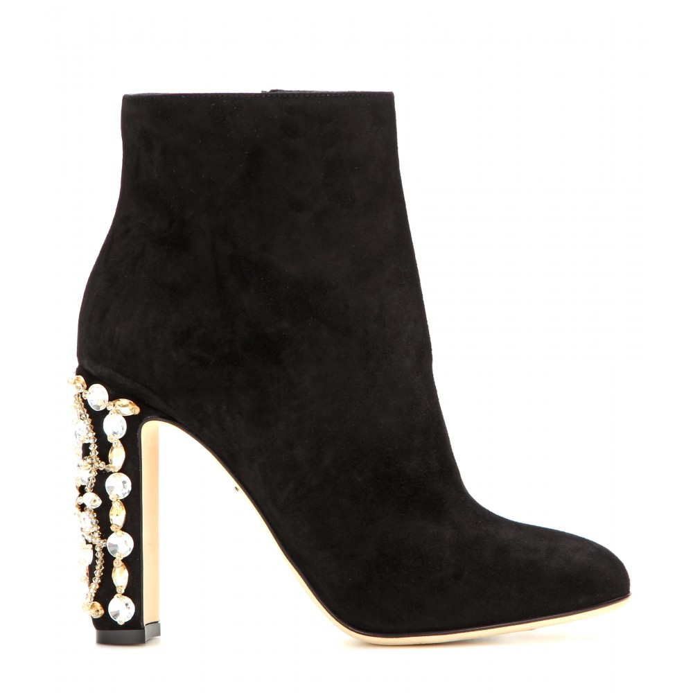 Lyst - Dolce   Gabbana Suede Ankle Boots With Crystal-embellished ... 230f4f7426e7