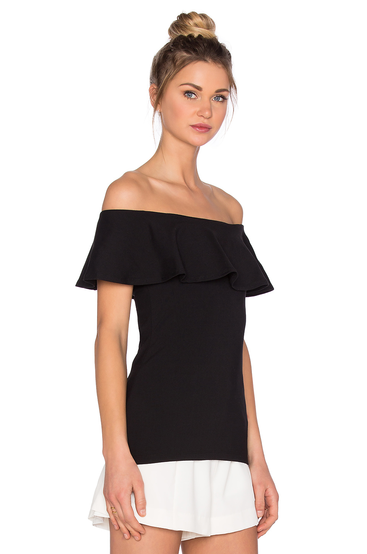 272245d02c1e4f Lyst - Susana Monaco Ruffle Off The Shoulder Top in Black