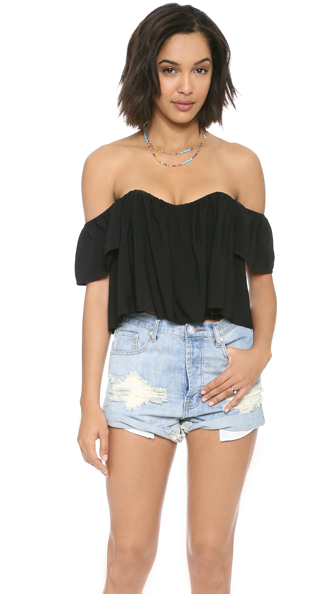 8499b3e00d22f Gallery. Previously sold at  Shopbop · Women s Off Shoulder Ruffle Tops ...
