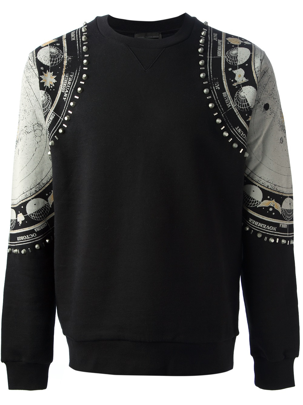 Diesel black gold Studded Sweater in Black for Men | Lyst