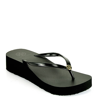 Lyst Tory Burch Black Rubber Wedge Thong Sandal In Black