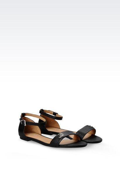 Armani Jeans Flat Sandal In Black Lyst