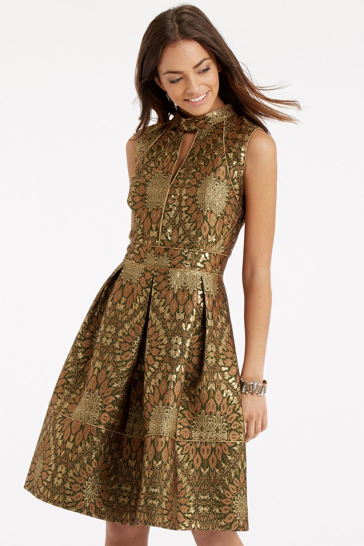 Lyst Oasis Artisan Jacquard Dress In Brown