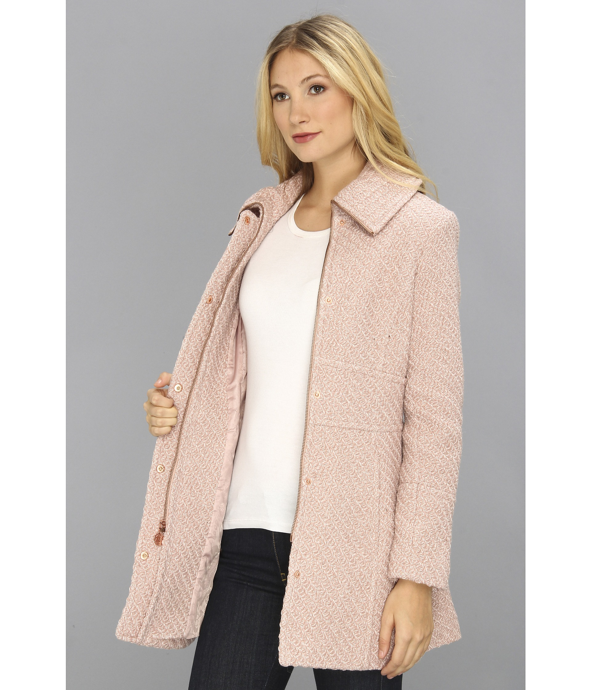 Jessica simpson Textured Wool Coat in Pink | Lyst