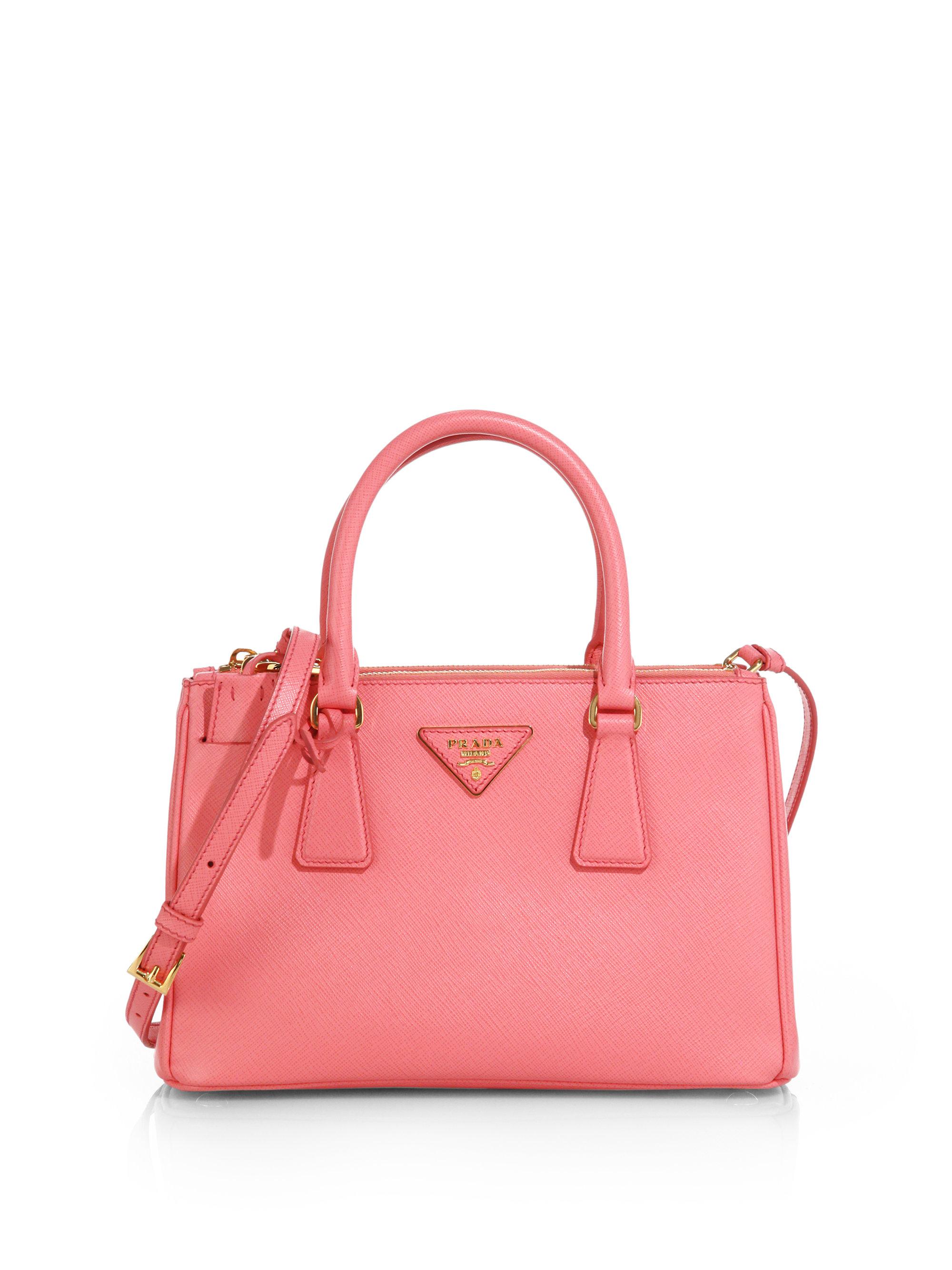 prada messenger bag black - Prada Saffiano Lux Small Double-zip Tote in Pink (GERANIO-PINK)   Lyst