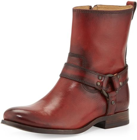 Frye Melissa Short Harness Zip Boot In Red For Men Burnt