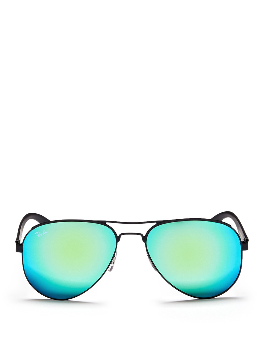 Lyst ray ban 39 rb3523 39 metal aviator mirror sunglasses in for Mirror sunglasses