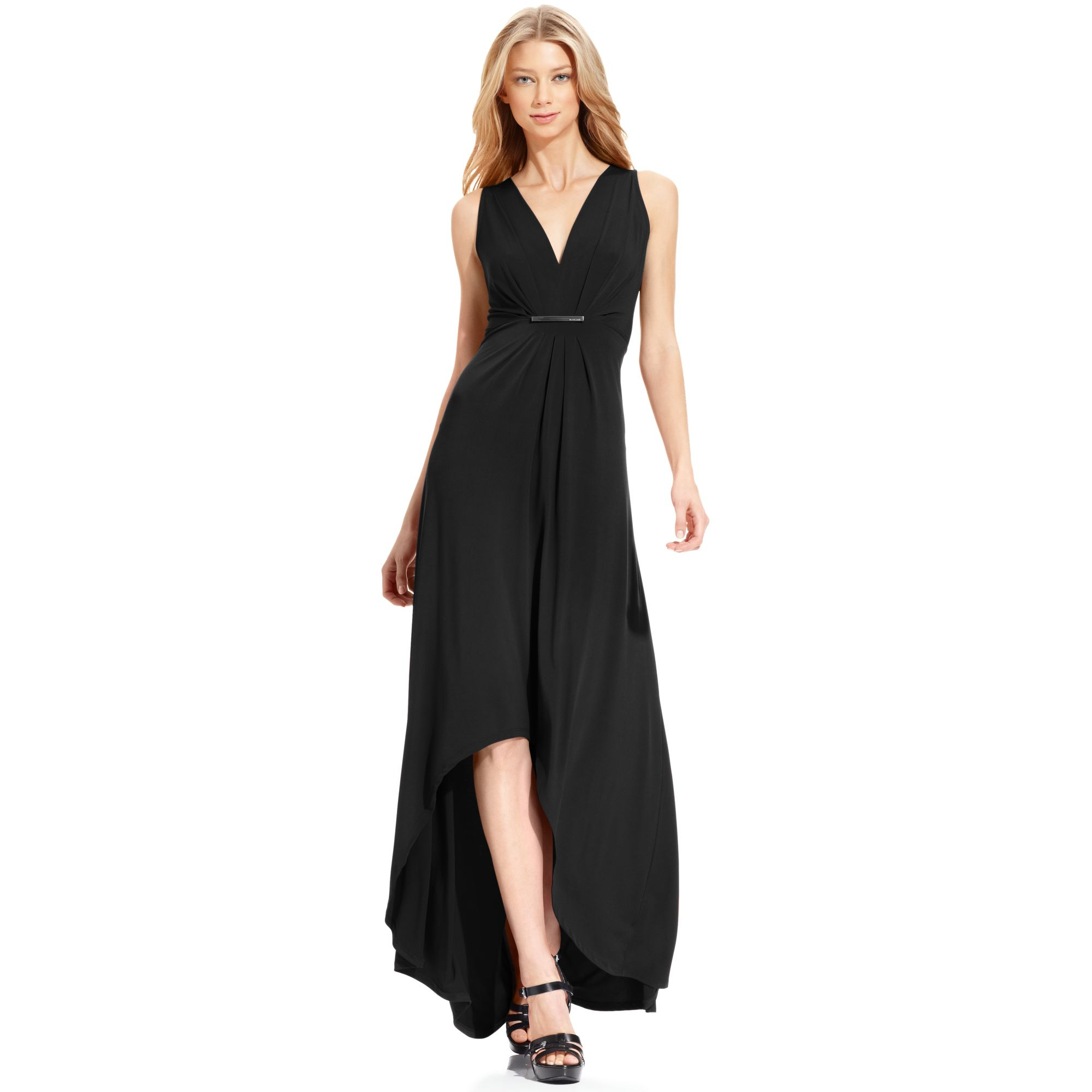 Michael Kors Sleeveless High Low Maxi Dress In Black Lyst