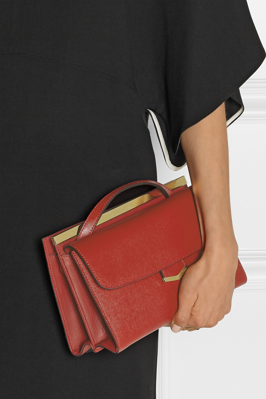 647d2081bd0 Fendi Demi Jours Small Textured-Leather Shoulder Bag in Red - Lyst