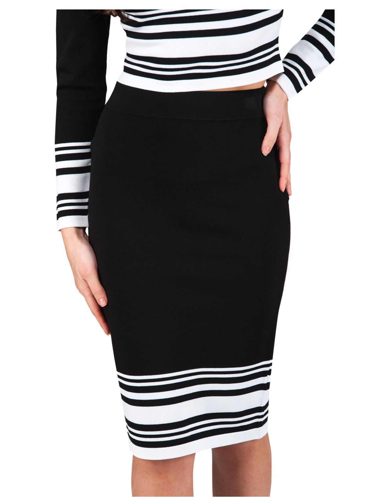 norman striped co ord jersey pencil skirt in black lyst