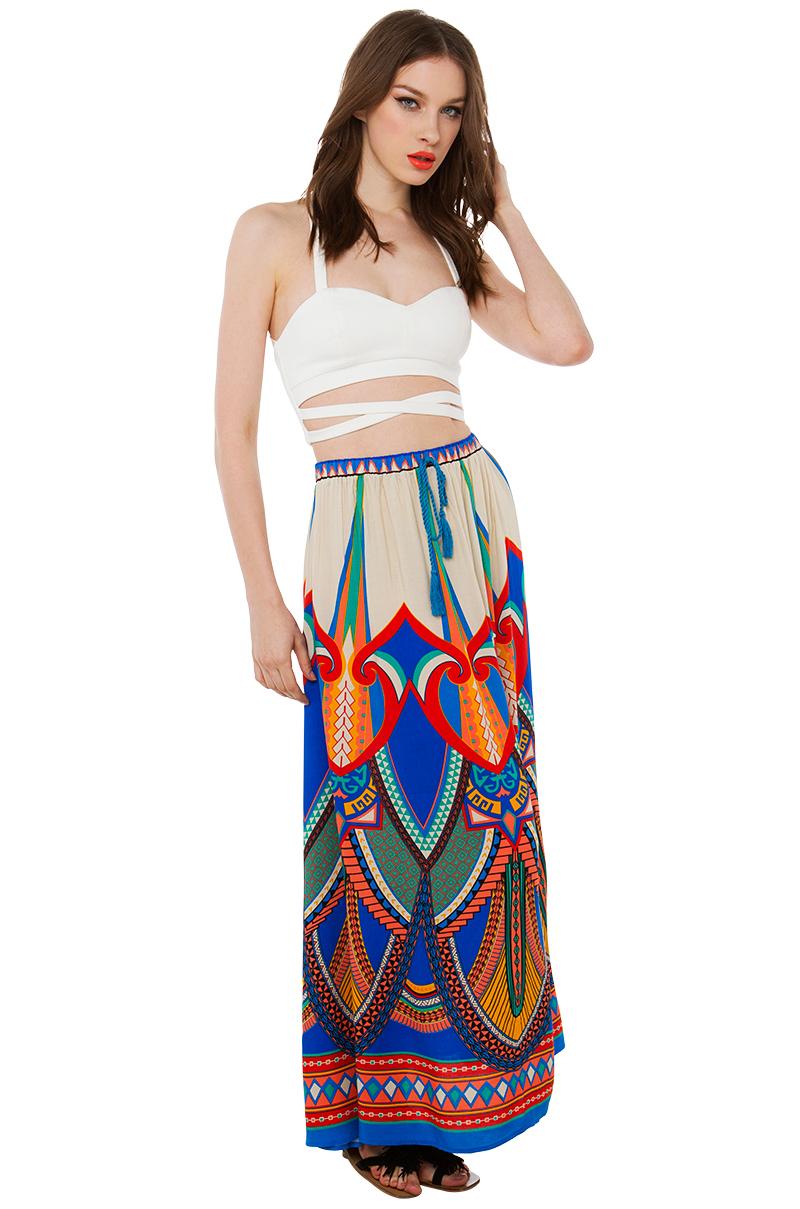 mix print festival maxi skirt lyst