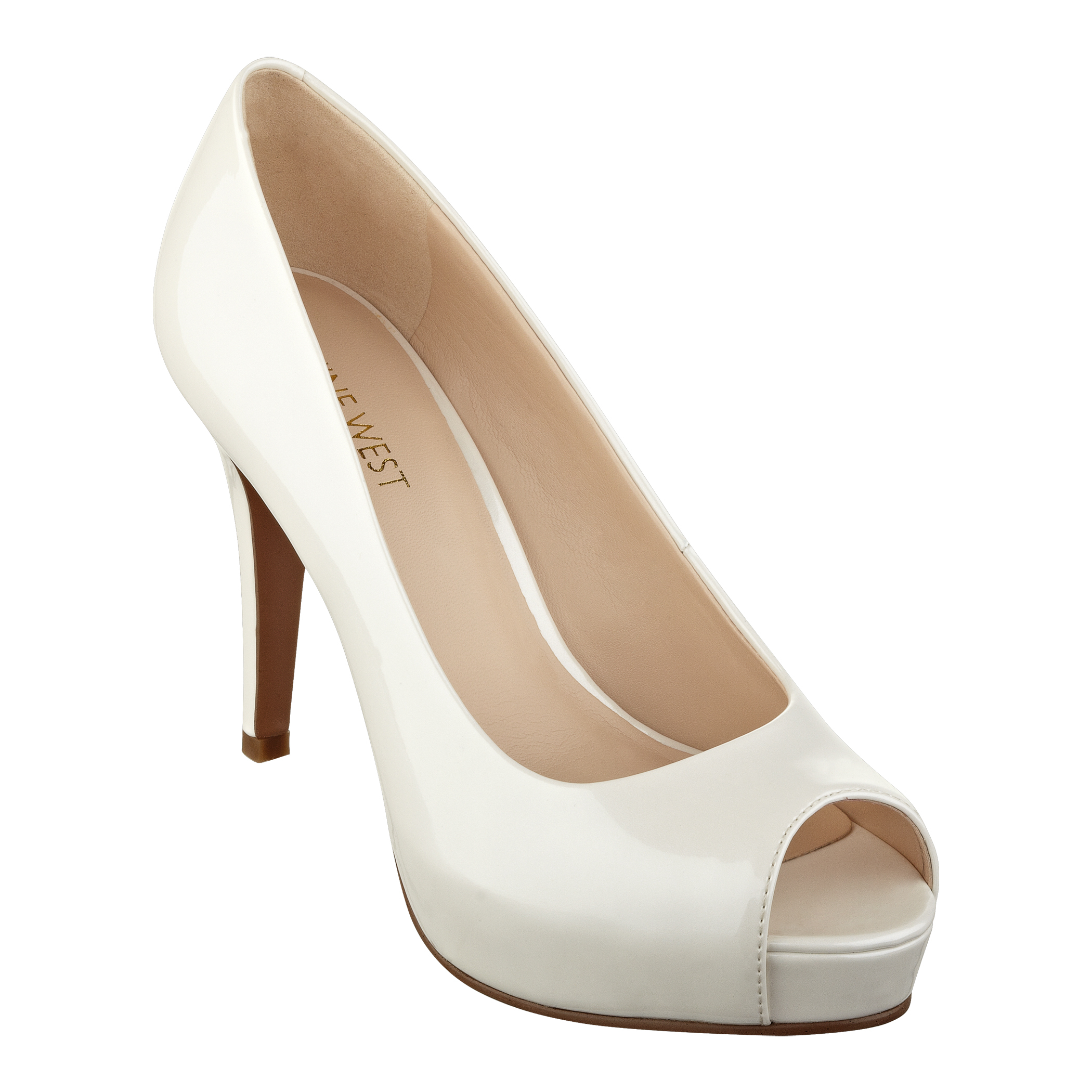 Nine west Camya Highheel Peeptoe Pumps Peep Toe Pumps in White | Lyst