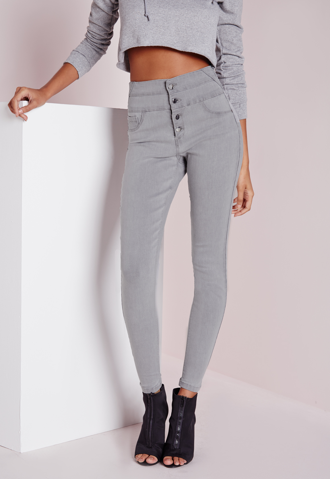 missguided sinner high waisted skinny jeans light grey in