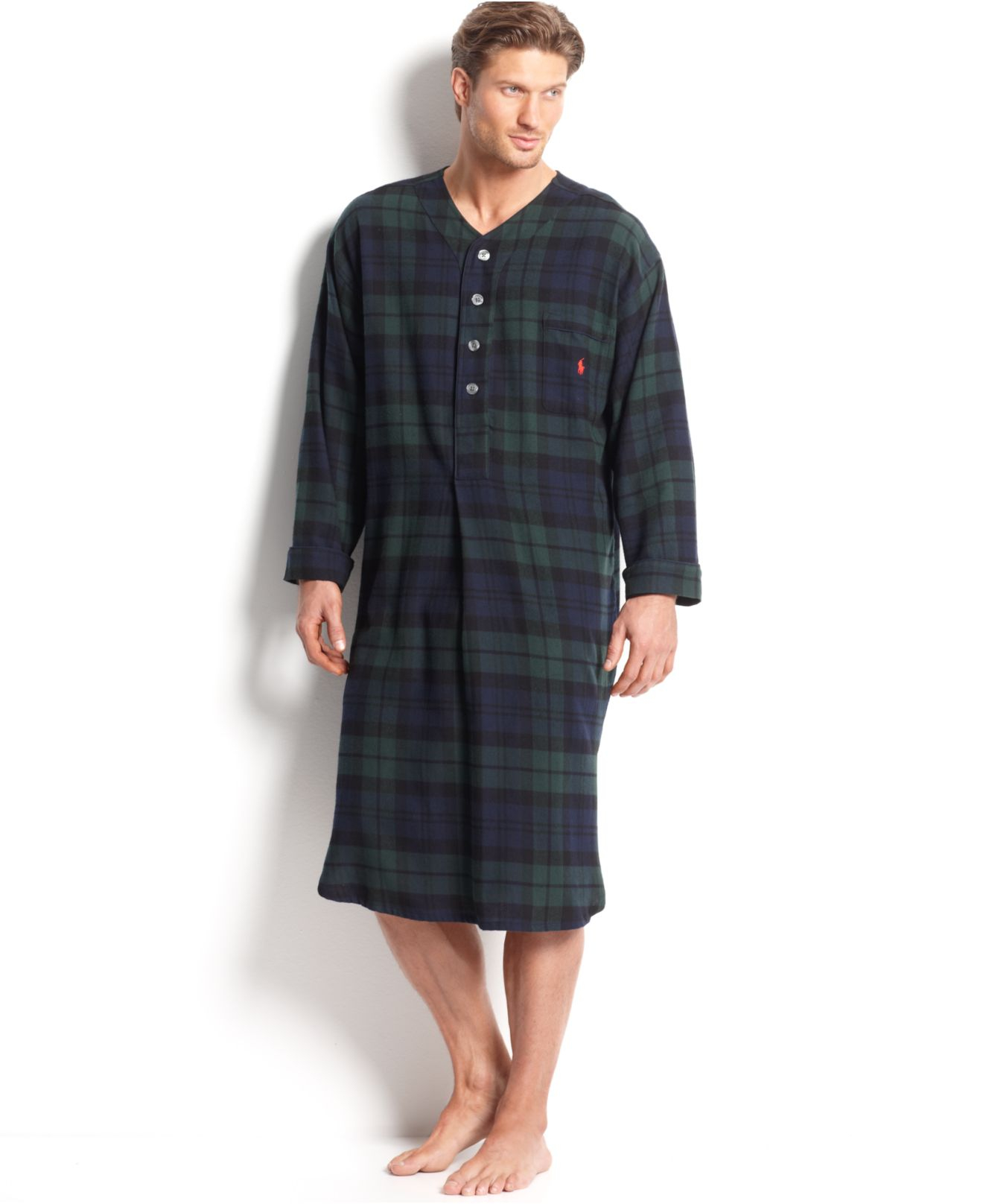 Polo ralph lauren Men's Long-sleeved Plaid Flannel Pajama Shirt in ...