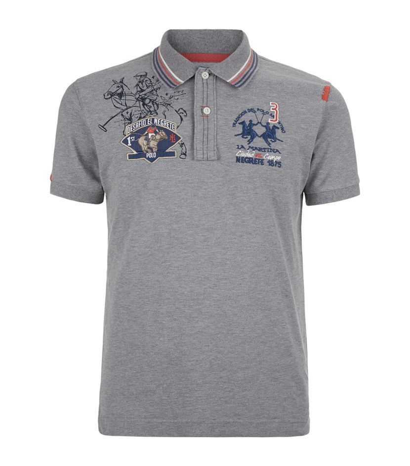 la martina pony sketch polo shirt in gray for men lyst. Black Bedroom Furniture Sets. Home Design Ideas