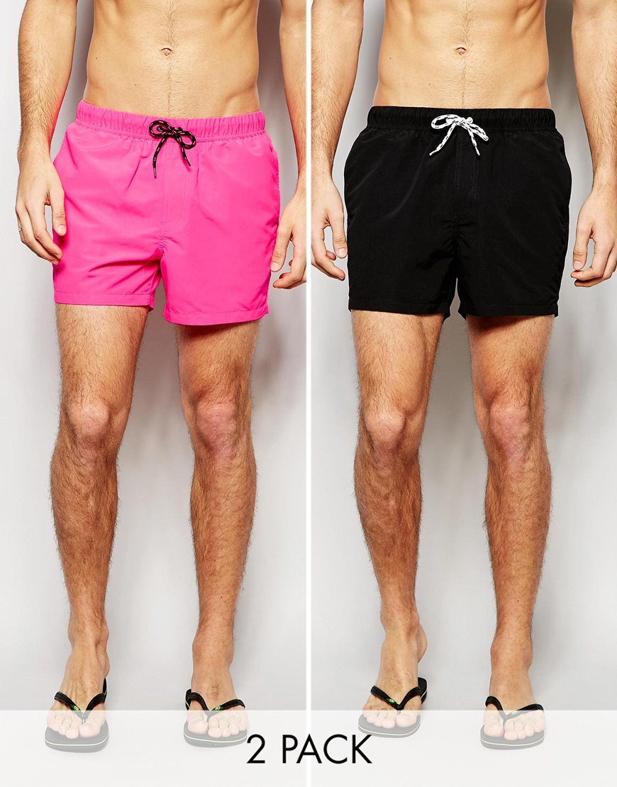 2212933cf8 ASOS Swim Shorts 2 Pack In Neon Pink And Black In Short Length Save ...
