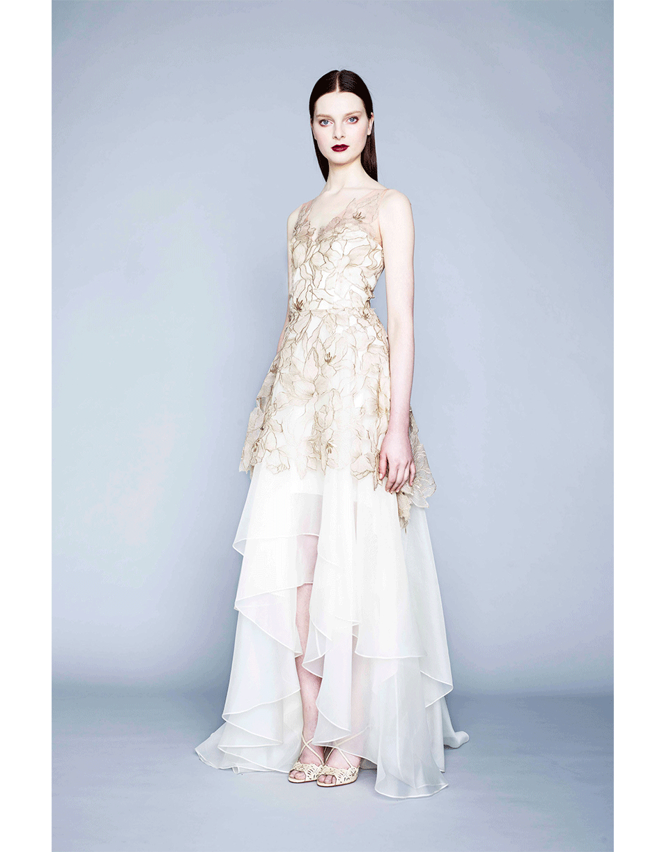Lyst - Notte By Marchesa Floral Lace Gown in Metallic