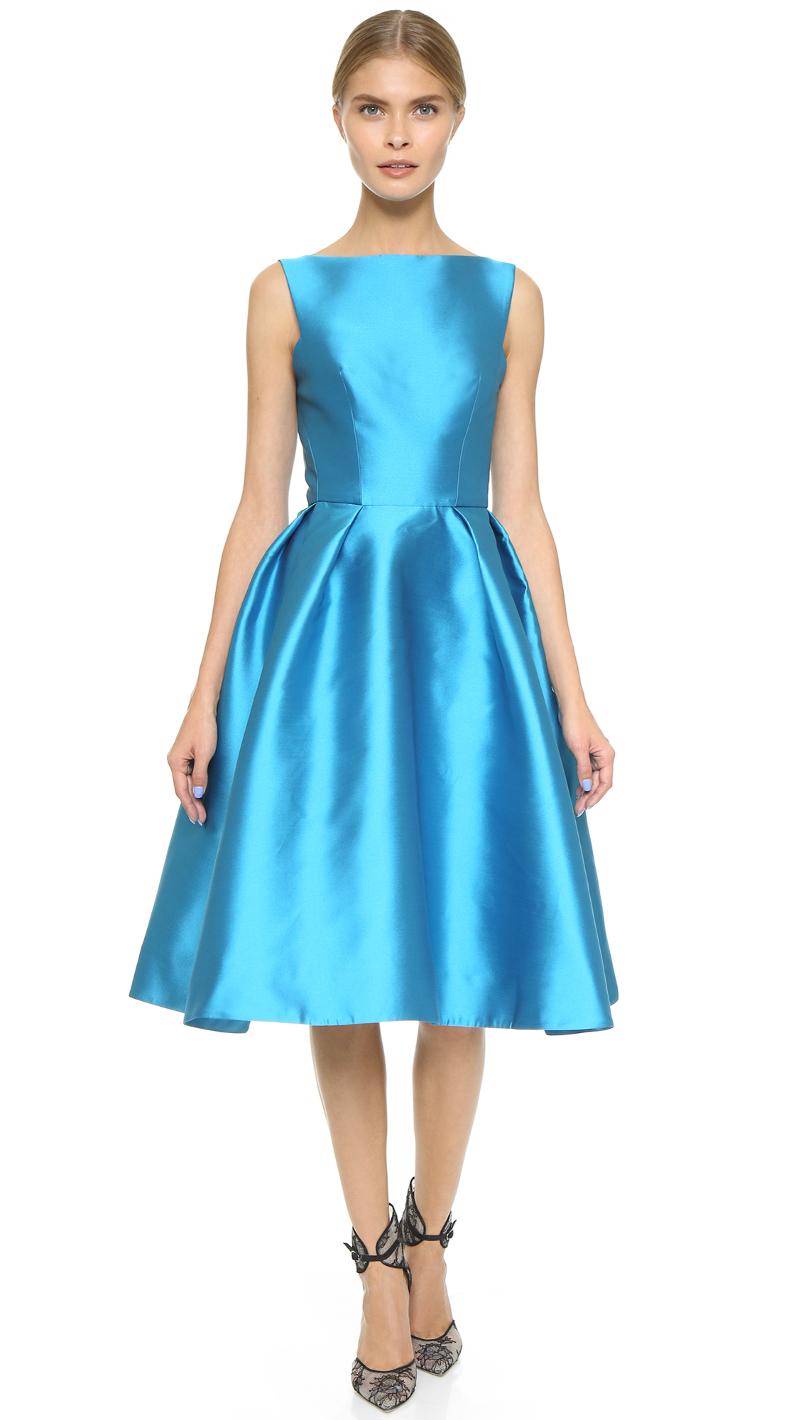 Lyst - Monique Lhuillier Structured Sleeveless Dress in Blue