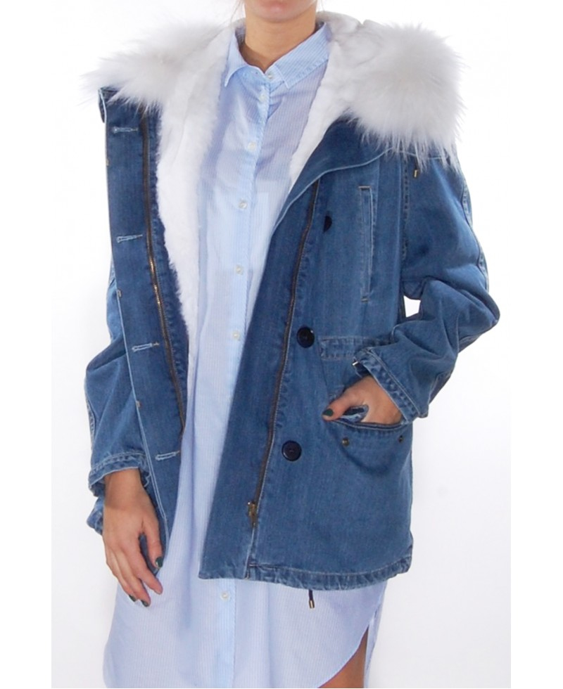 Yves salomon Light Denim Fur Parka in Blue | Lyst