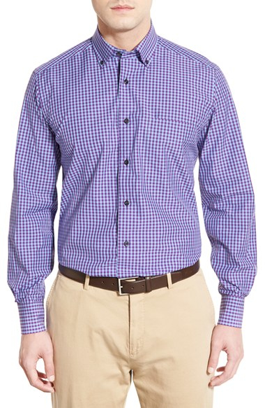 Lyst david donahue regular fit gingham sport shirt in for David donahue french cuff shirts