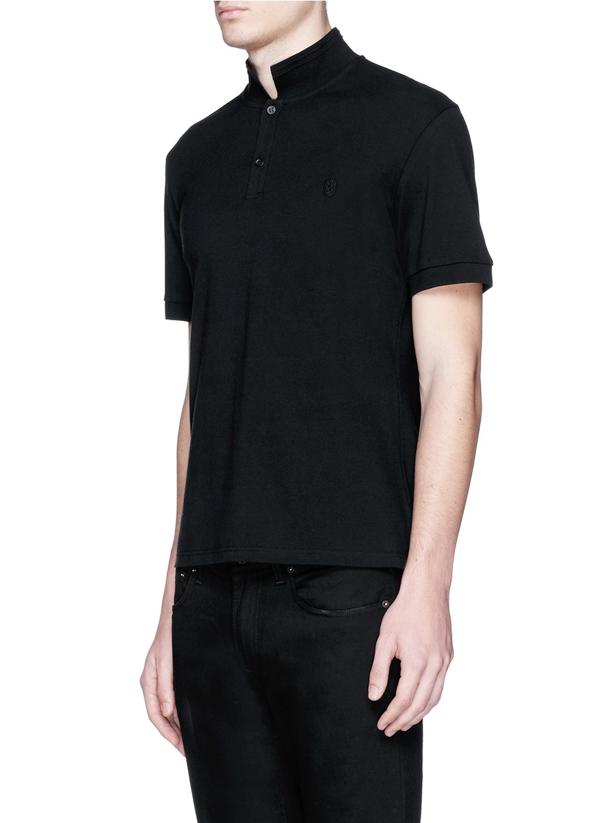 Black Embroidered Polo Alexander McQueen Best Authentic NrQCoOe