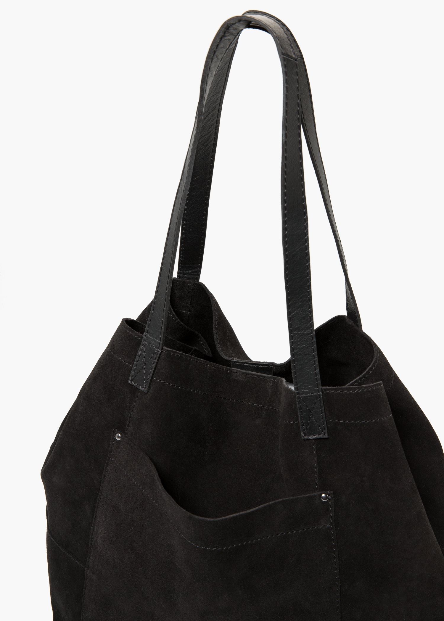 Mango Suede Shopper Bag in Black | Lyst