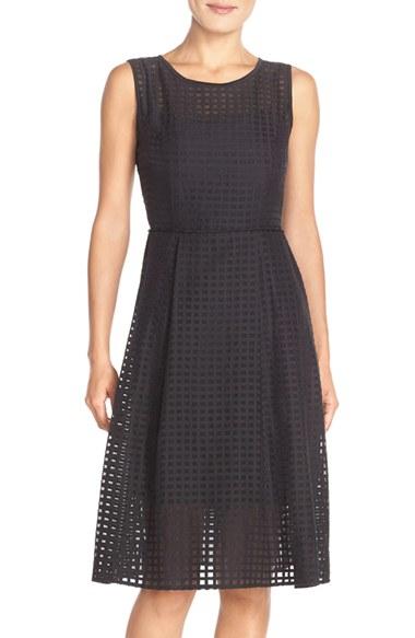 Ellen Tracy Windowpane Organza Fit Amp Flare Dress In Black