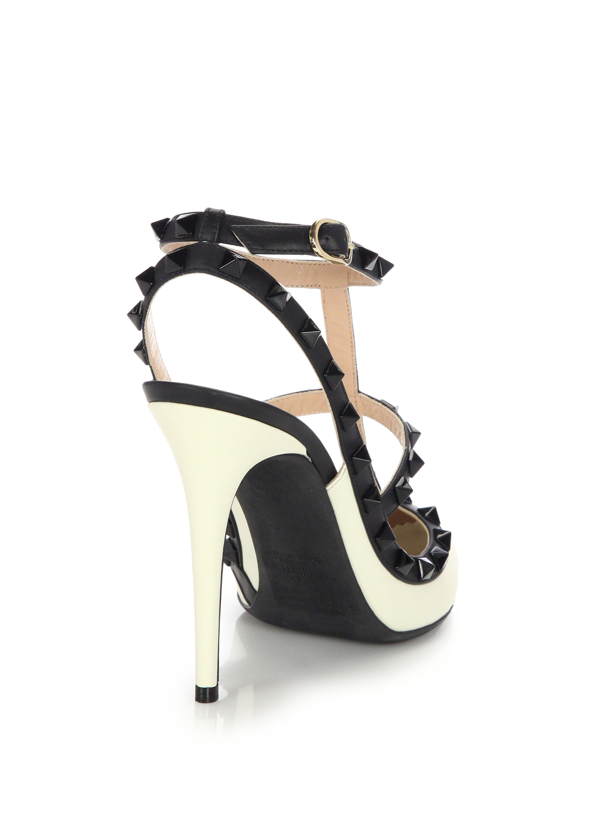 valentino rockstud leather colorblock pumps in black lyst