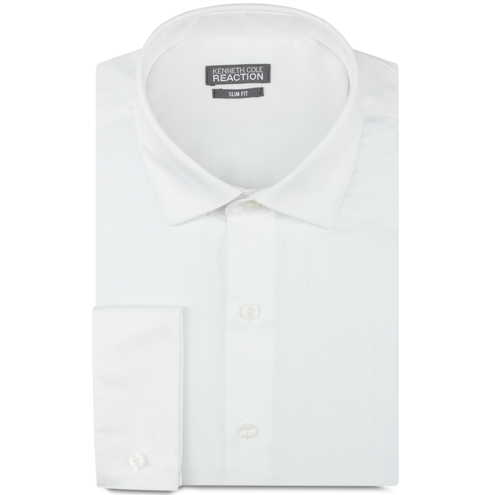 Kenneth cole reaction slim fit textured solid french cuff White french cuff shirt slim fit