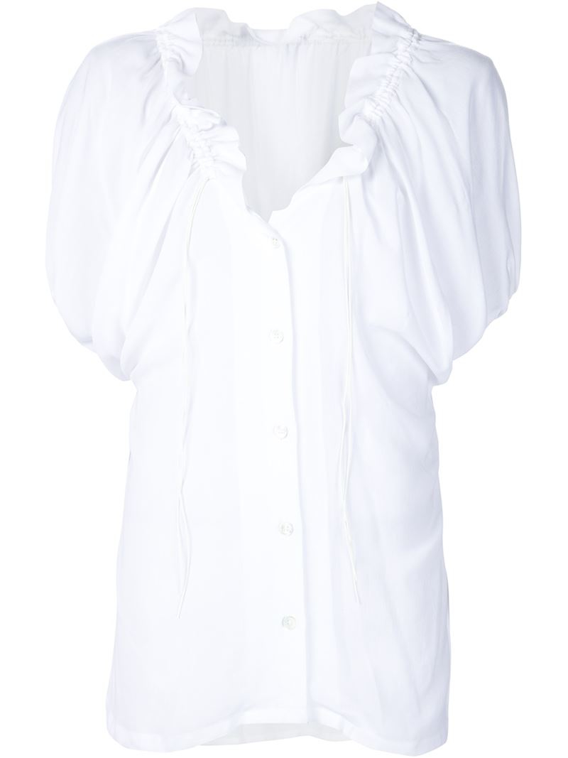 Ann Demeulemeester Drawstring Neck Blouse In White Save